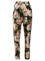 Dolce And Gabbana Rose Print Silk Trousers Black Pink