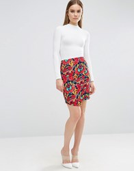 Madam Rage Madame Floral Bodycon Skirt Red Floral