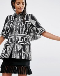 Anna Sui Fitted Jacket In Bark Cloth Jacquard Black Print Multi