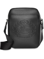 Burberry Small Embossed Crest Leather Crossbody Bag Black
