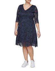 Junarose Emma V Neck Lace Dress Navy