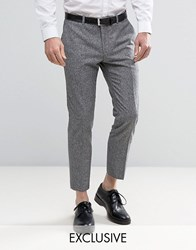 Heart And Dagger Skinny Cropped Smart Trouser In Tweed Grey