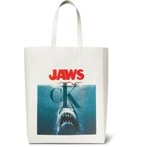 Calvin Klein 205W39nyc Jaws Printed Leather Tote Bag White