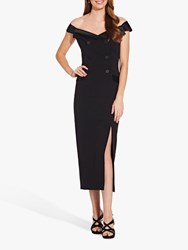 Adrianna Papell Crepe Tuxedo Midi Dress Black