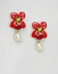 Les Nereides N R Ides Floral Drop Earrings Red