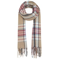 Miss Selfridge Check Fringed Scarf Camel