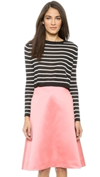 Tibi Nautical Stripe Cropped Pullover Black Multi