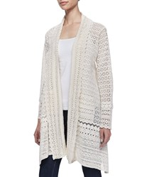 Johnny Was Long Crochet Open Jacket Natural