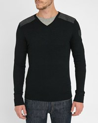 Ikks Navy Grey Two Tone V Neck Sweater