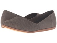 Toms Jutti Flat Tarmac Olive Suede Chevron Embossed Women's Flat Shoes Taupe