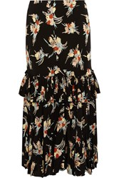 Marni Ruffled Printed Silk Crepe Midi Skirt Black