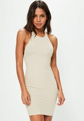 Missguided Nude Halterneck Ribbed Bodycon Dress Stone