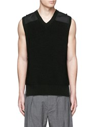 Kolor Contrast Shoulder Chunky Rib Knit Vest Black