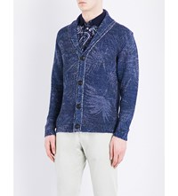 Etro Palm Print Knitted Cotton Blend Cardigan Blue