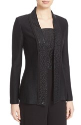 St. John Women's Collection Sequin Shimmer Twill Knit Jacket Caviar
