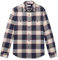 J.Crew Wallace And Barnes Slim Fit Checked Cotton Flannel Shirt Blue