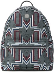 Mcm Graphic Print Backpack Grey