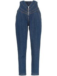 Attico V Waist Tapered Jeans Blue