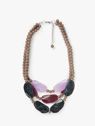 One Button Chunky Bead Triple Row Layered Statement Necklace Steel Multi