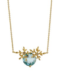 Indulgems Snowflake Golden Blue Topaz And Crystal Pendant Necklace Women's