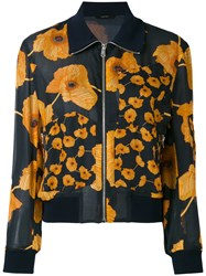 Paul Smith Printed Bomber Jacket Women Silk Cotton 40 Blue