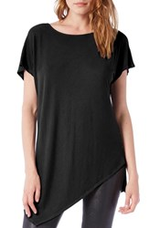 Michael Stars Women's Asymmetrical Ribbed Short Sleeve Tunic Black