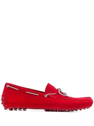 Trussardi Jeans Rope Driving Loafers Red