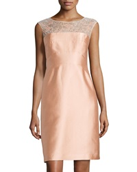 Kay Unger New York Beaded Lace Sleeveless Cocktail Dress Apricot
