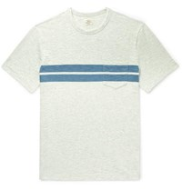 Faherty Striped Slub Cotton Jersey T Shirt Gray