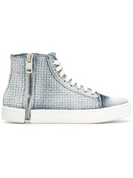 Diesel Zip Detail Sneakers Women Cotton Polyester Pig Leather Rubber 37 Blue
