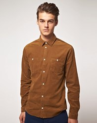 Suit Twin Pocket Needle Cord Shirt Light Brown