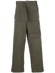 J.W.Anderson Jw Anderson Belted Straight Leg Trousers Green