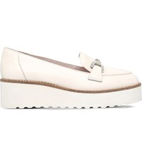 Carvela Latch Leather Flatform Loafers White