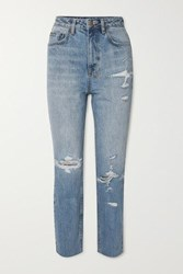 Ksubi Chlo Wasted Distressed High Rise Straight Leg Jeans Mid Denim