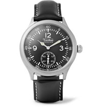 Techne Watches Merlin 246 Stainless Steel And Leather Watch Black