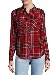 Saks Fifth Avenue Embellished Button Down Shirt Red Green
