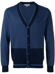 Canali Patterned Cardigan Blue