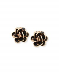 Chantecler Paillette Black Bezel Cluster Earrings In 18K Rose Gold