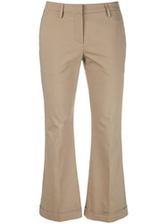 Brunello Cucinelli Cropped Kick Flare Trousers Brown