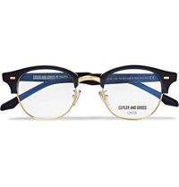 Cutler And Gross D Frame Acetate Gold Tone Optical Glasses Midnight Blue