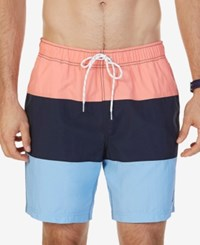 Nautica Men's Big And Tall Quick Dry Colorblocked Swim Trunks Pale Coral