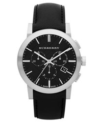 Burberry 42Mm Chronograph Watch W Matte Leather Strap Black
