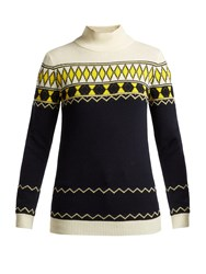 Maison Martin Margiela Fair Isle Intarsia Knit Wool Blend Sweater Blue