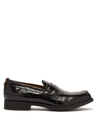 Burberry Emilie Crocodile Effect Leather Penny Loafers Black
