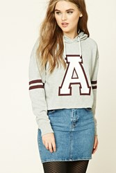 Forever 21 A Graphic Raw Cut Hoodie Grey Burgundy