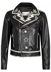 Red Valentino Black Appliqu'd Leather Jacket