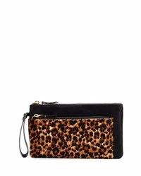Neiman Marcus Leopard Print Faux Leather Double Pouch Natural Bl