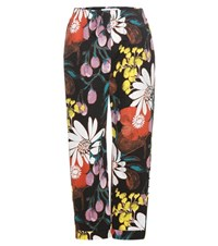 Marni Printed Cotton And Linen Trousers Black