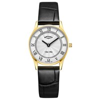 Rotary Ls08303 01 Women's Ultra Slim Leather Strap Watch Black Silver White