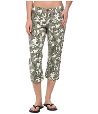 Toadandco Petrograph Crop Dusty Olive Print Women's Casual Pants Green